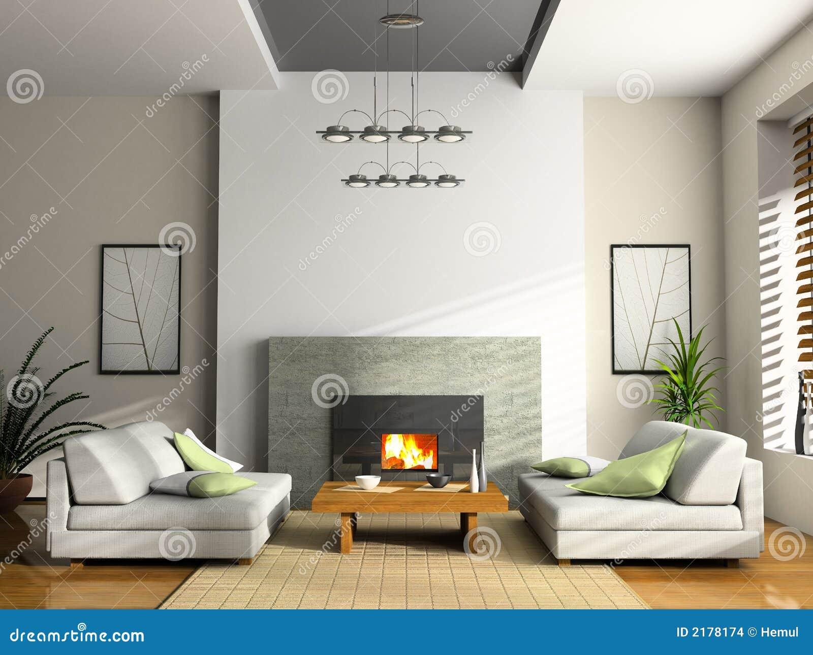 Intérieur de maison avec la cheminée