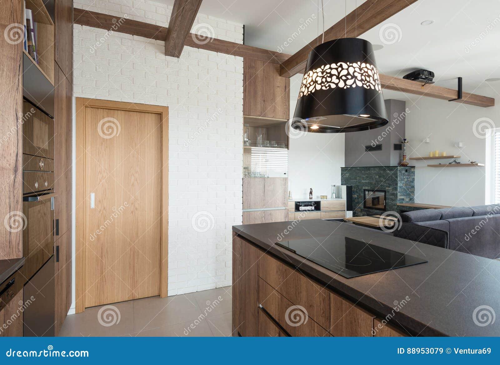 Intérieur De Maison Moderne , Cuisine Et Salon Image stock
