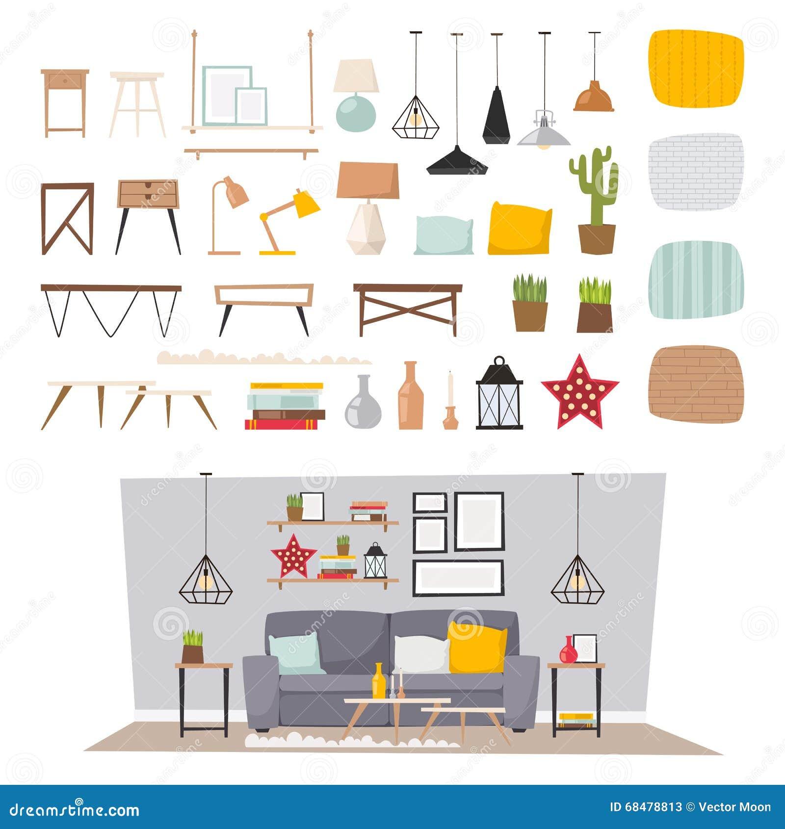 Int Rieur De Meubles Et Illustration Plate R Gl E De Vecteur De  # Les Meubles Pour La Maison
