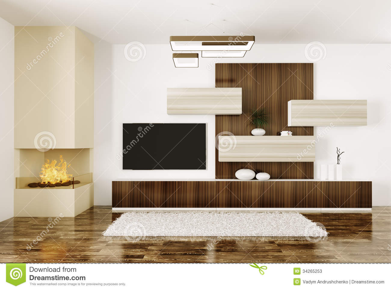 int rieur de pi ce avec la chemin e et le plasma tv 3d. Black Bedroom Furniture Sets. Home Design Ideas