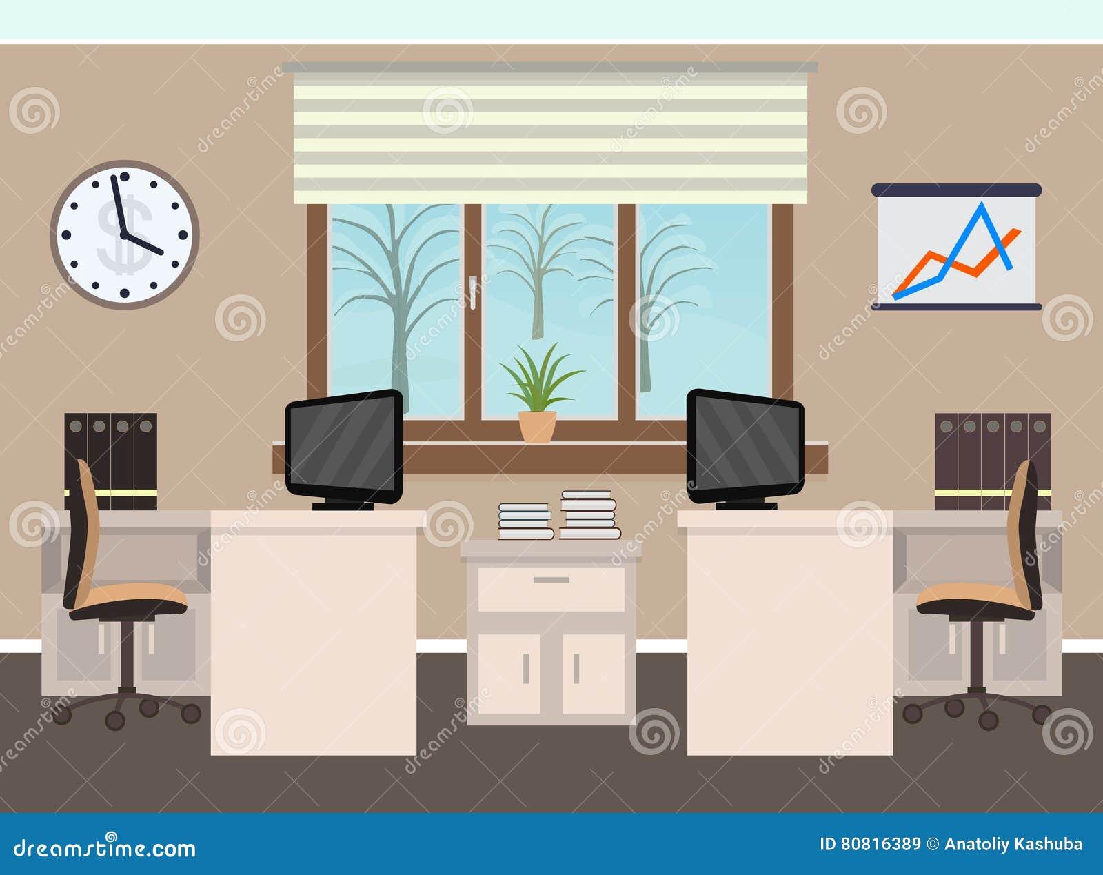 Intérieur de pièce de bureau comprenant deux espaces de travail