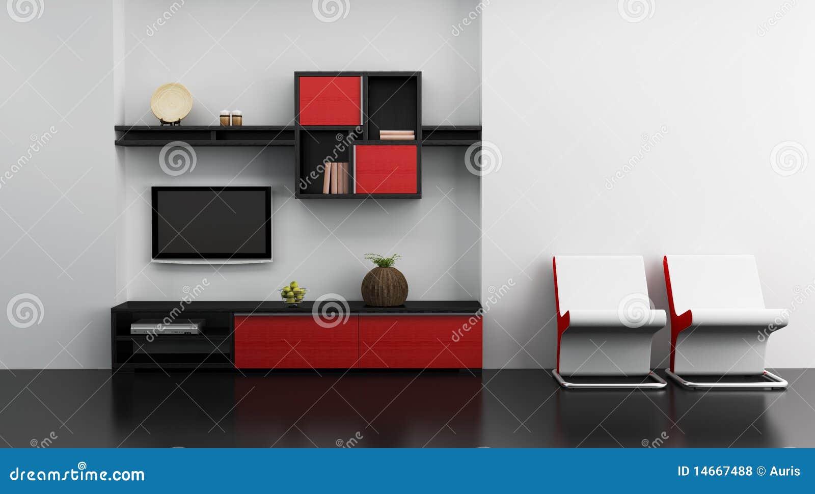 Int Rieur De Pi Ce De Salon Avec L Tag Re Et La Tv Illustration  # Etagere Salon Tv