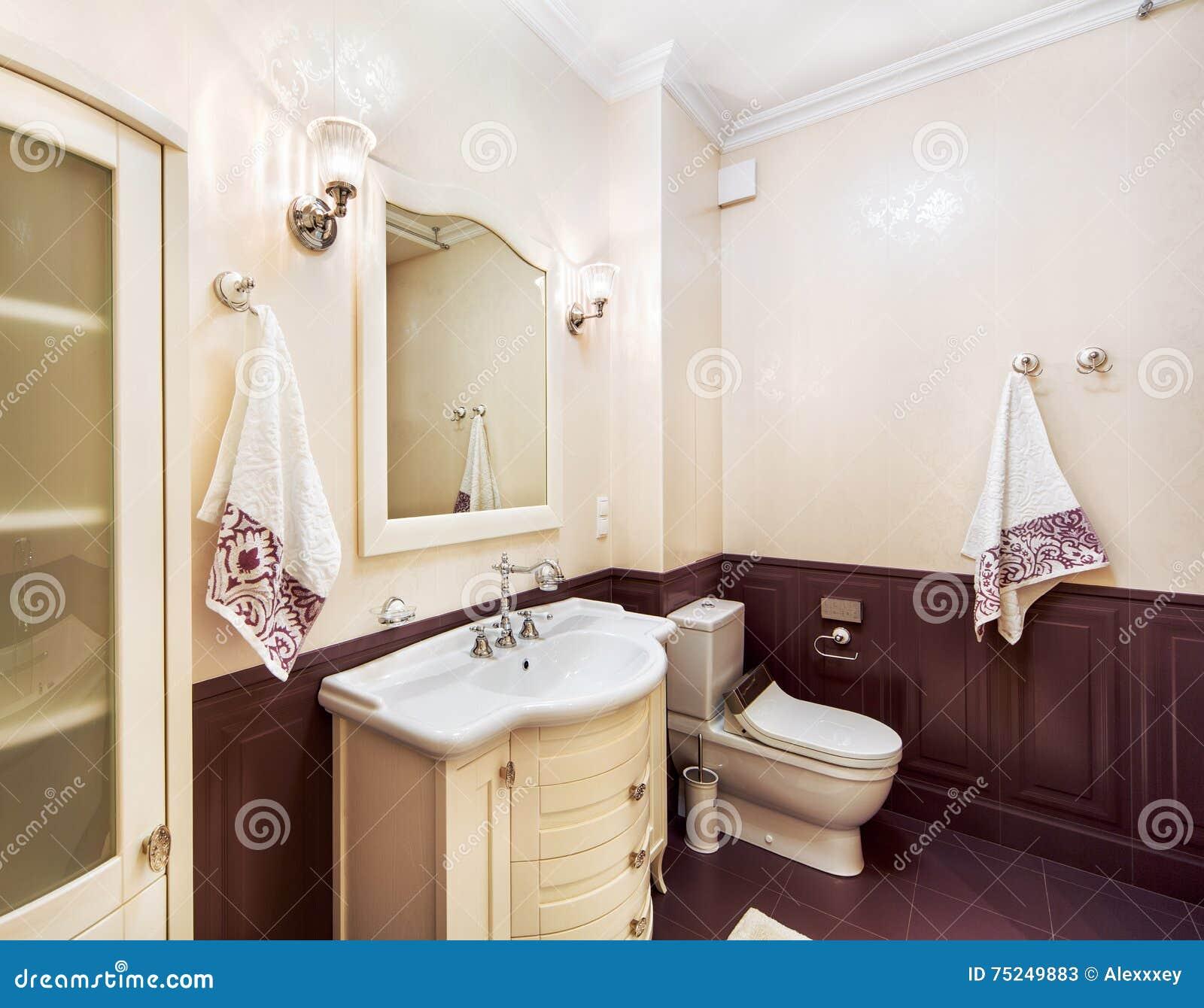 Intérieur De Pièce De Toilette Avec Un Lavabo Un Miroir Et Une