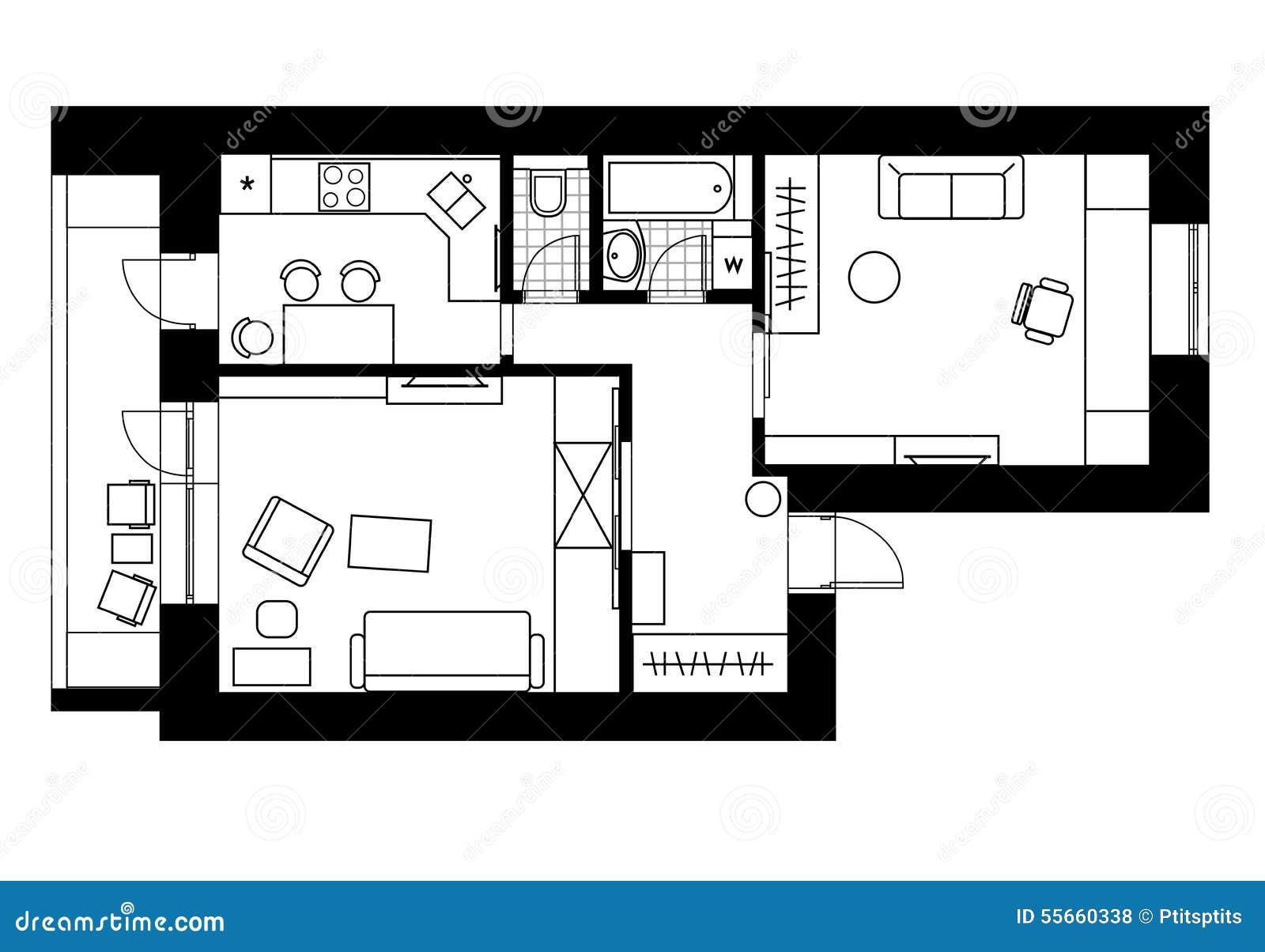int rieur de plan de dessin de l 39 appartement avec une. Black Bedroom Furniture Sets. Home Design Ideas