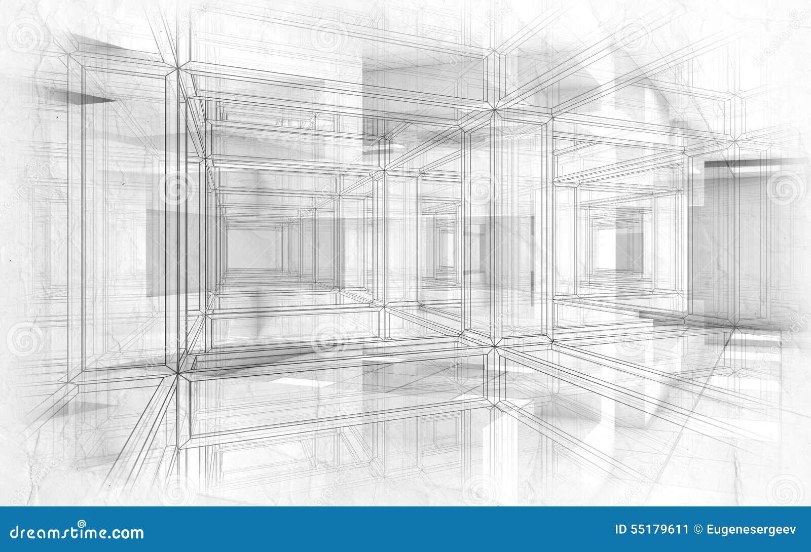 Intérieur de pointe abstrait du fond 3d de dessins