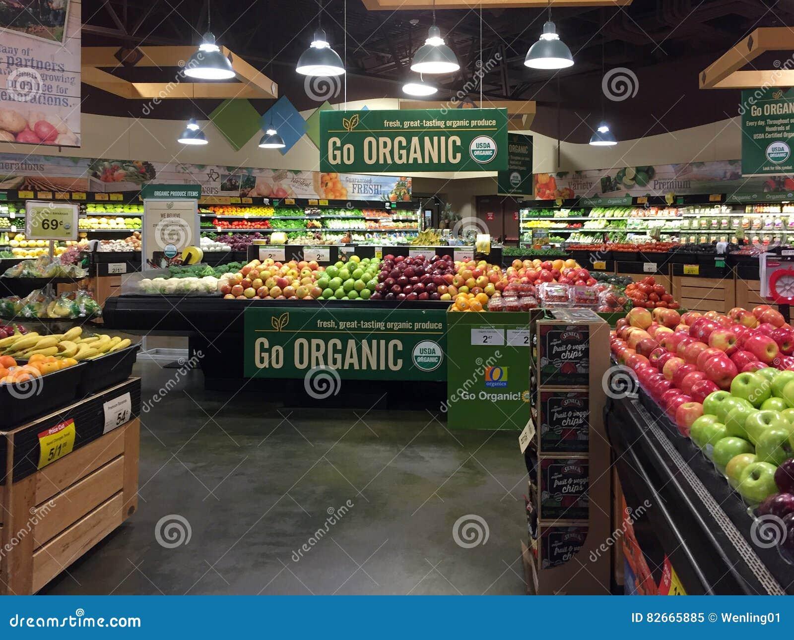 Intérieur de produit organique à vendre au magasin