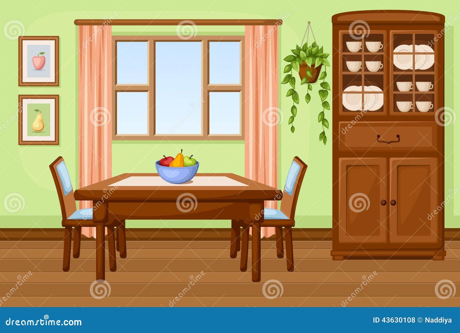 Int rieur de salle manger avec la table et le placard for Placard mural salle a manger