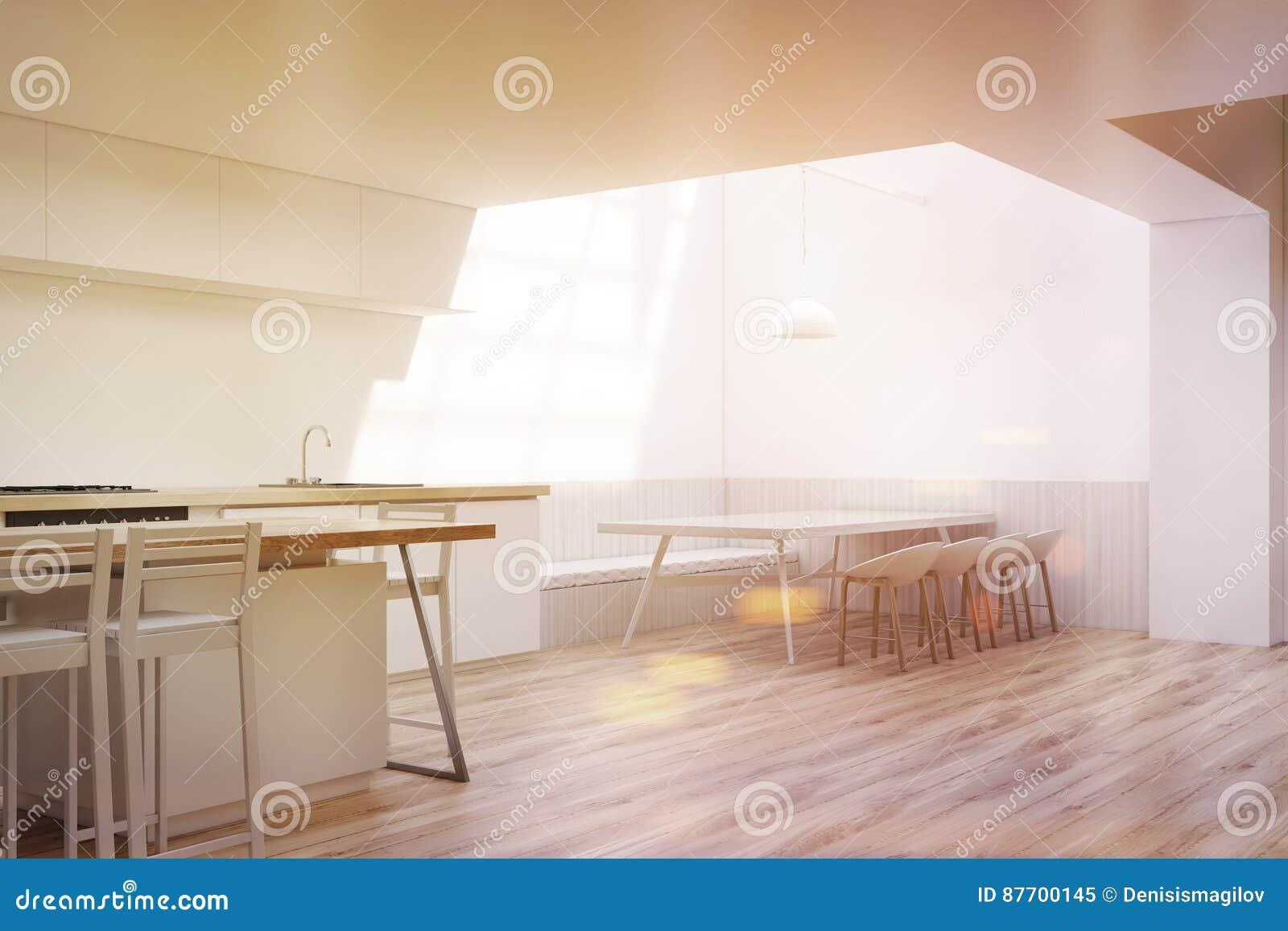 Intérieur de salle à manger avec une lampe, coin, modifié la tonalité