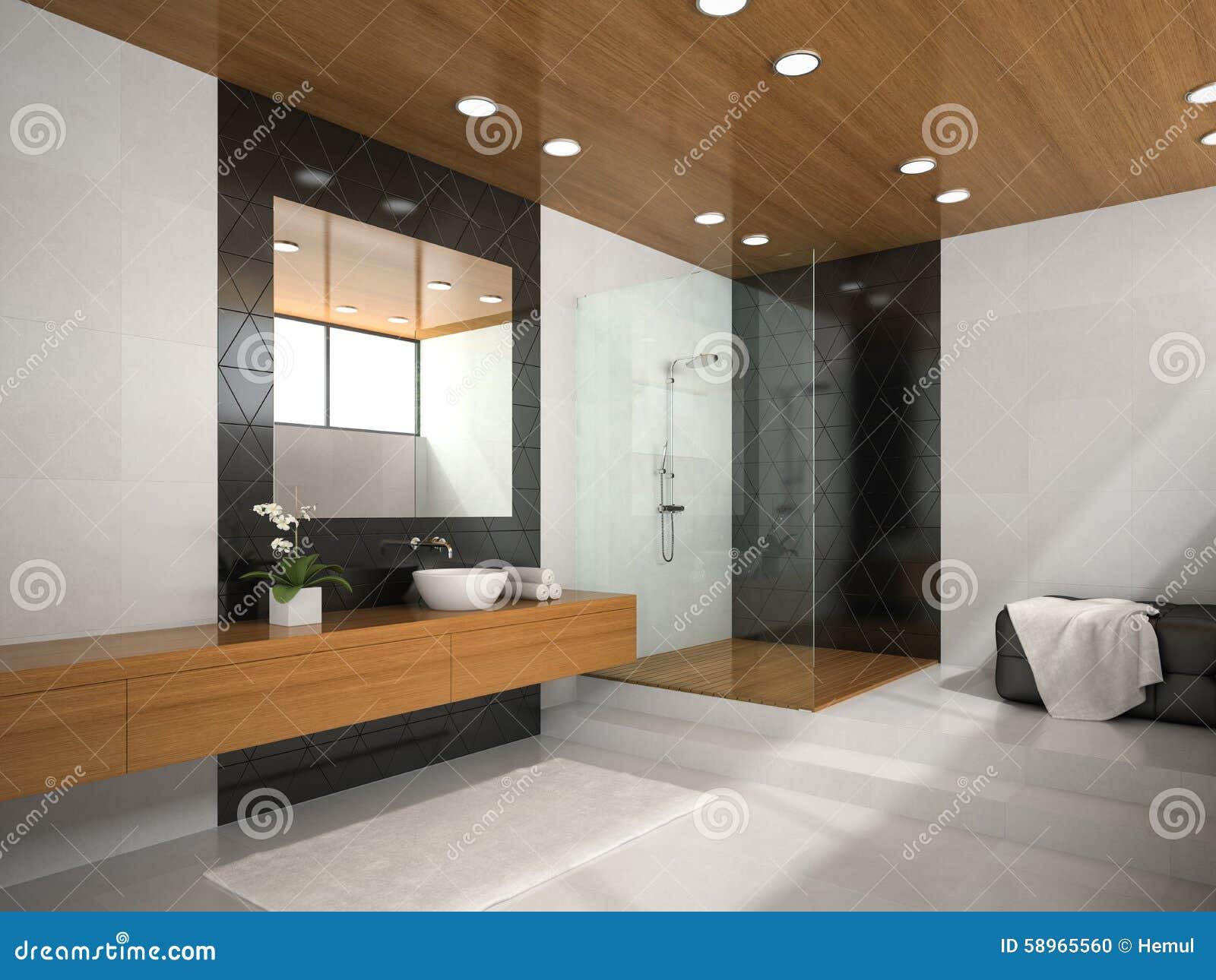 int rieur de salle de bains avec le plafond en bois illustration stock illustration du objet. Black Bedroom Furniture Sets. Home Design Ideas