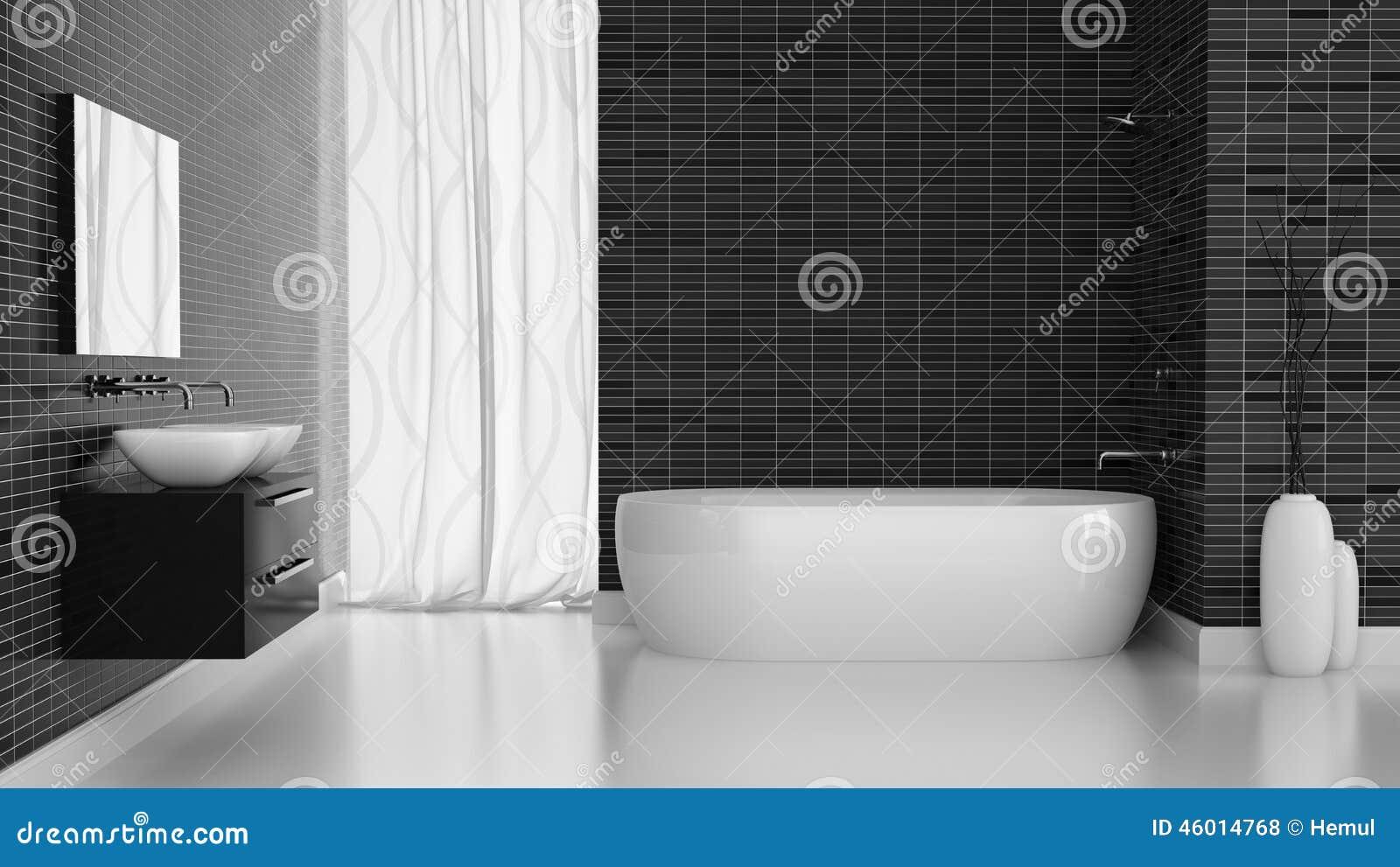 Salle De Bain Mur Noir ~ int rieur de salle de bains moderne avec le mur noir de tuiles