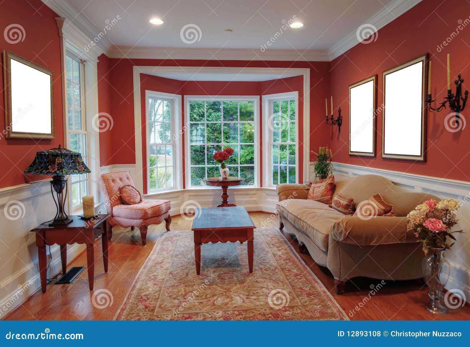 int rieur de salle de s jour avec la fen tre en saillie photo stock image du fleurs. Black Bedroom Furniture Sets. Home Design Ideas