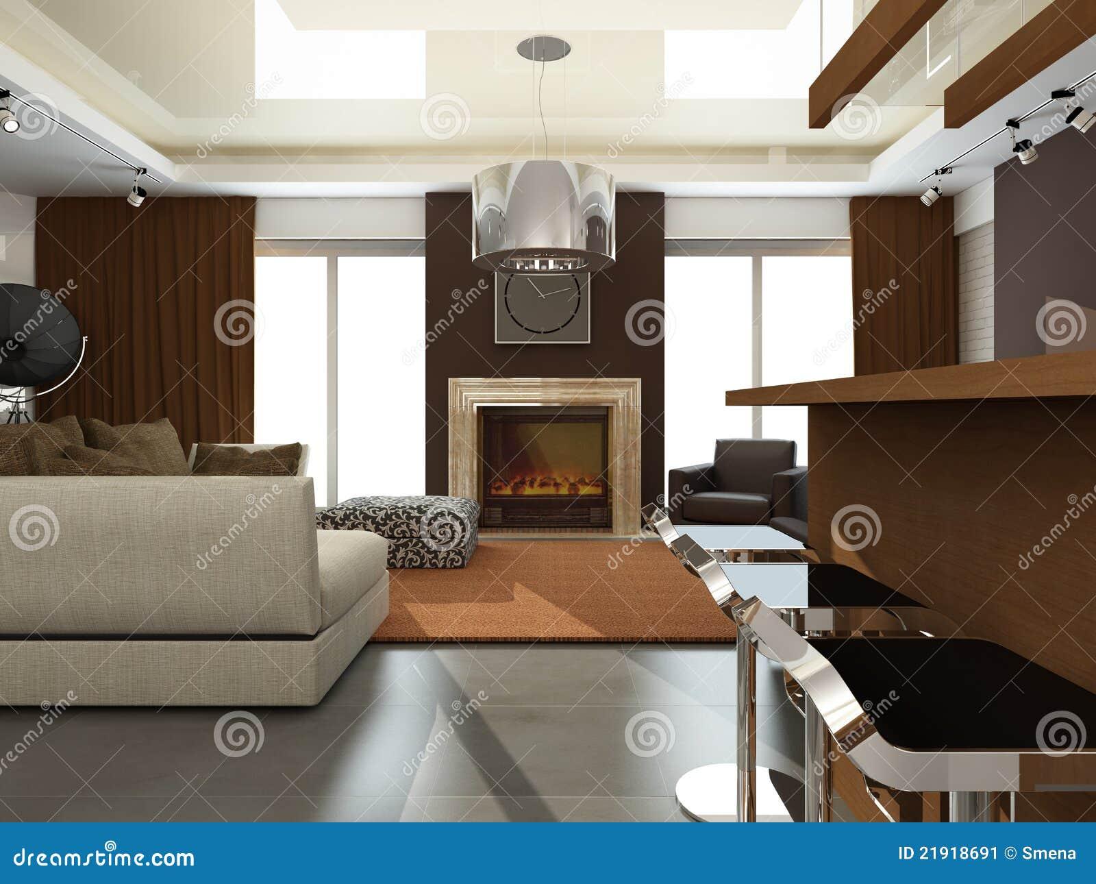 Int rieur de salle de s jour moderne image stock image for Salle de sejour moderne