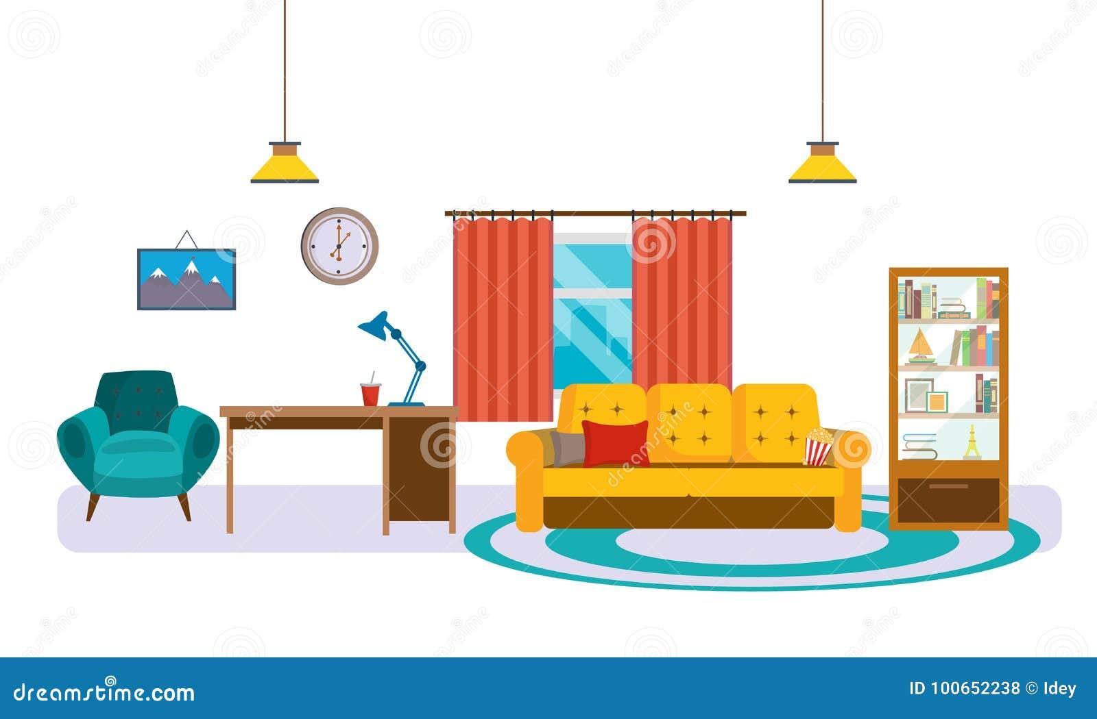 Interieur De Salon Avec Des Meubles Des Accessoires Et Des Objets