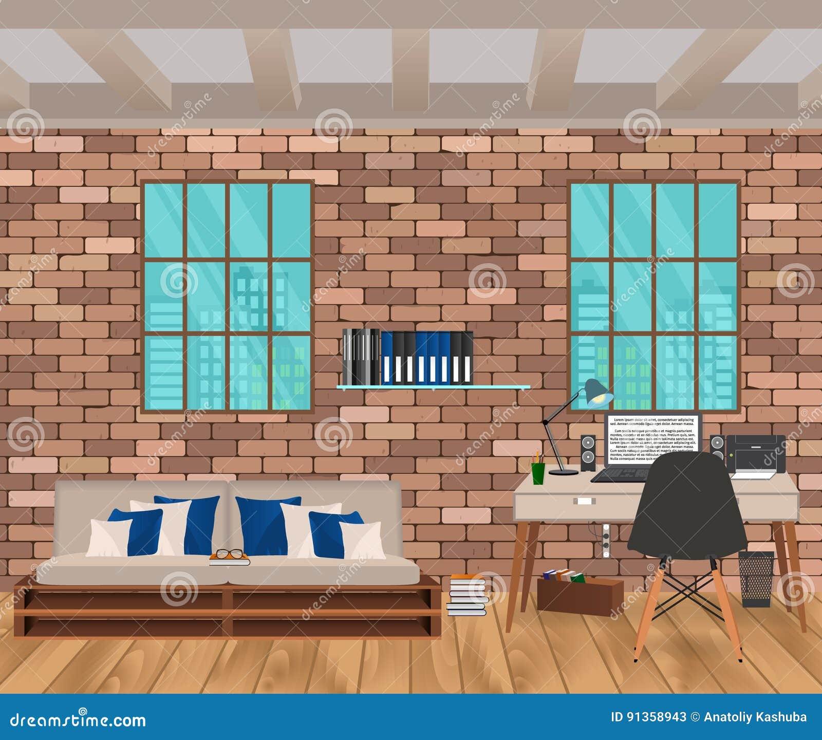 intrieur de salon dans le style de hippie avec le mur de briques le sofa