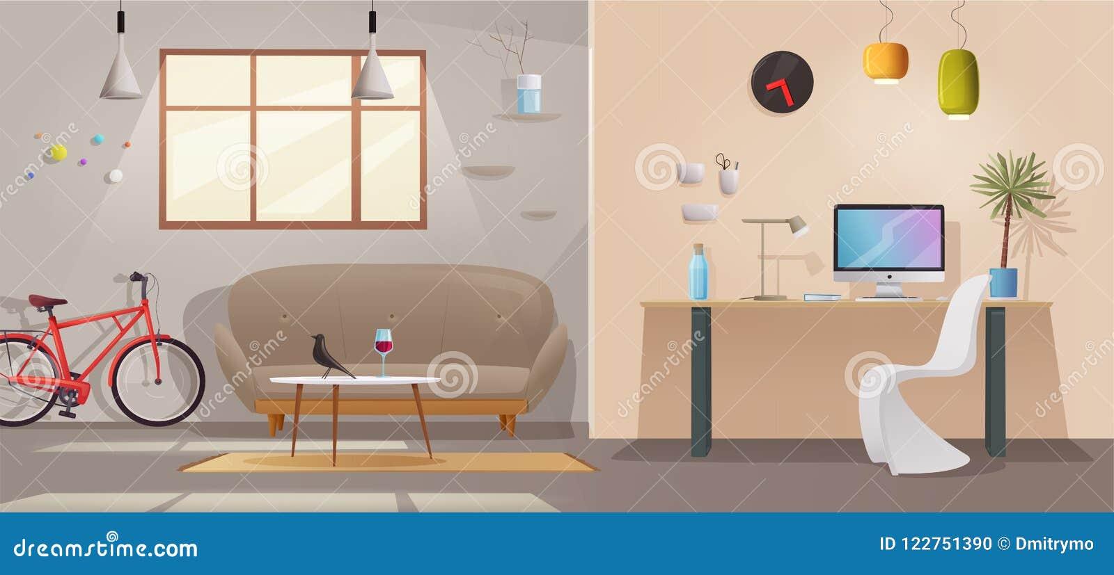 Intérieur de salon et de bureau appartement moderne scandinave ou