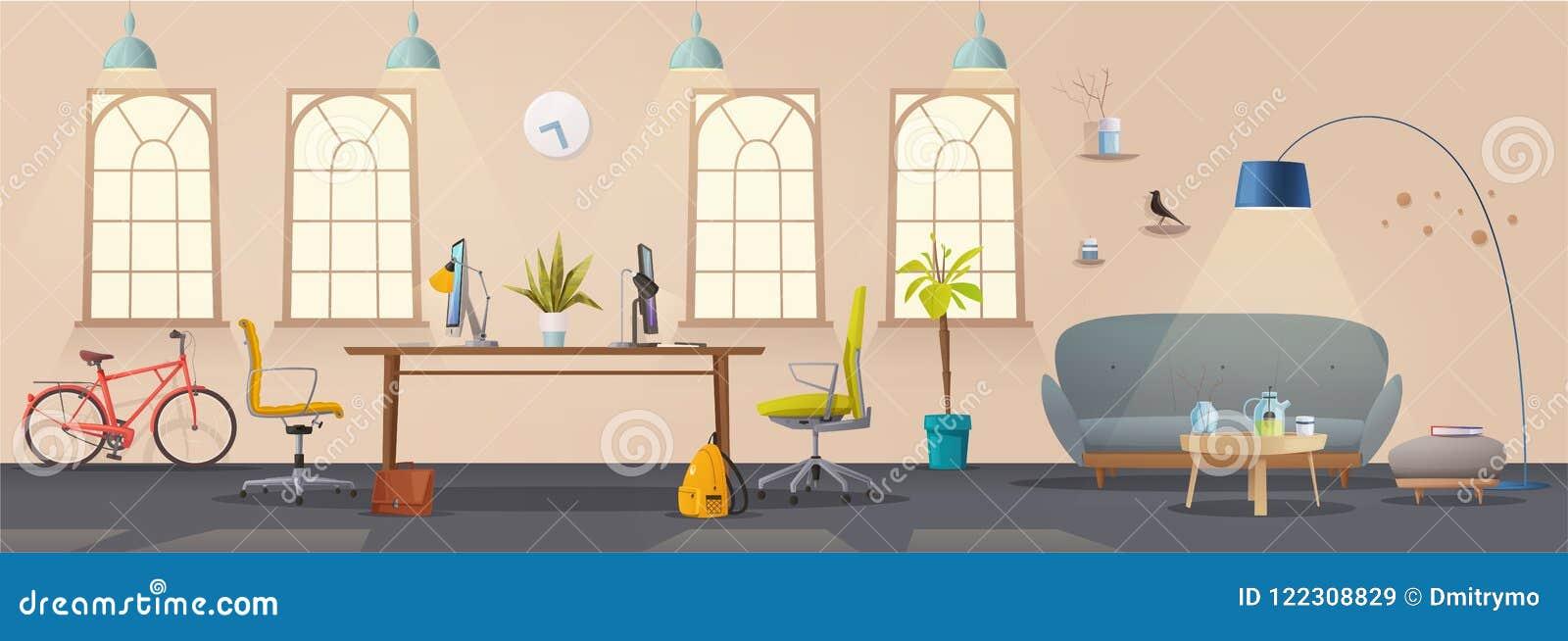 Intérieur de salon et de bureau Appartement, Scandinave ou conception moderne de grenier