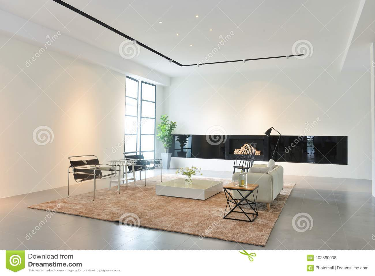Intérieur De Salon De Maison Moderne Photo stock - Image du brun ...