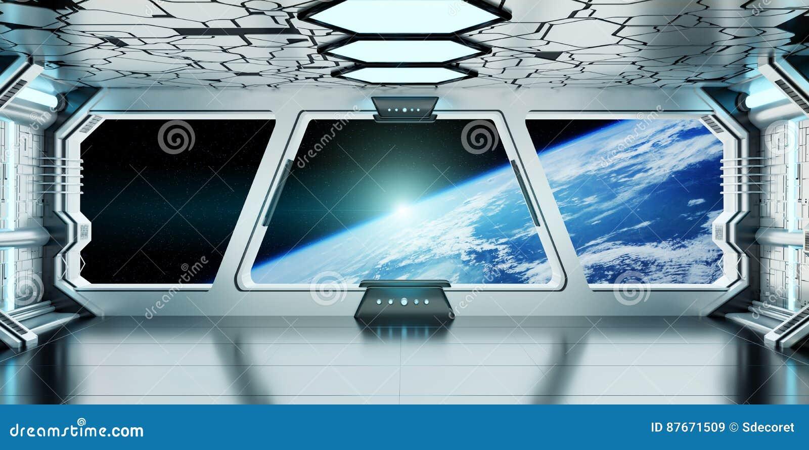 Intérieur de vaisseau spatial avec la vue sur la terre 3D de planète rendant l EL