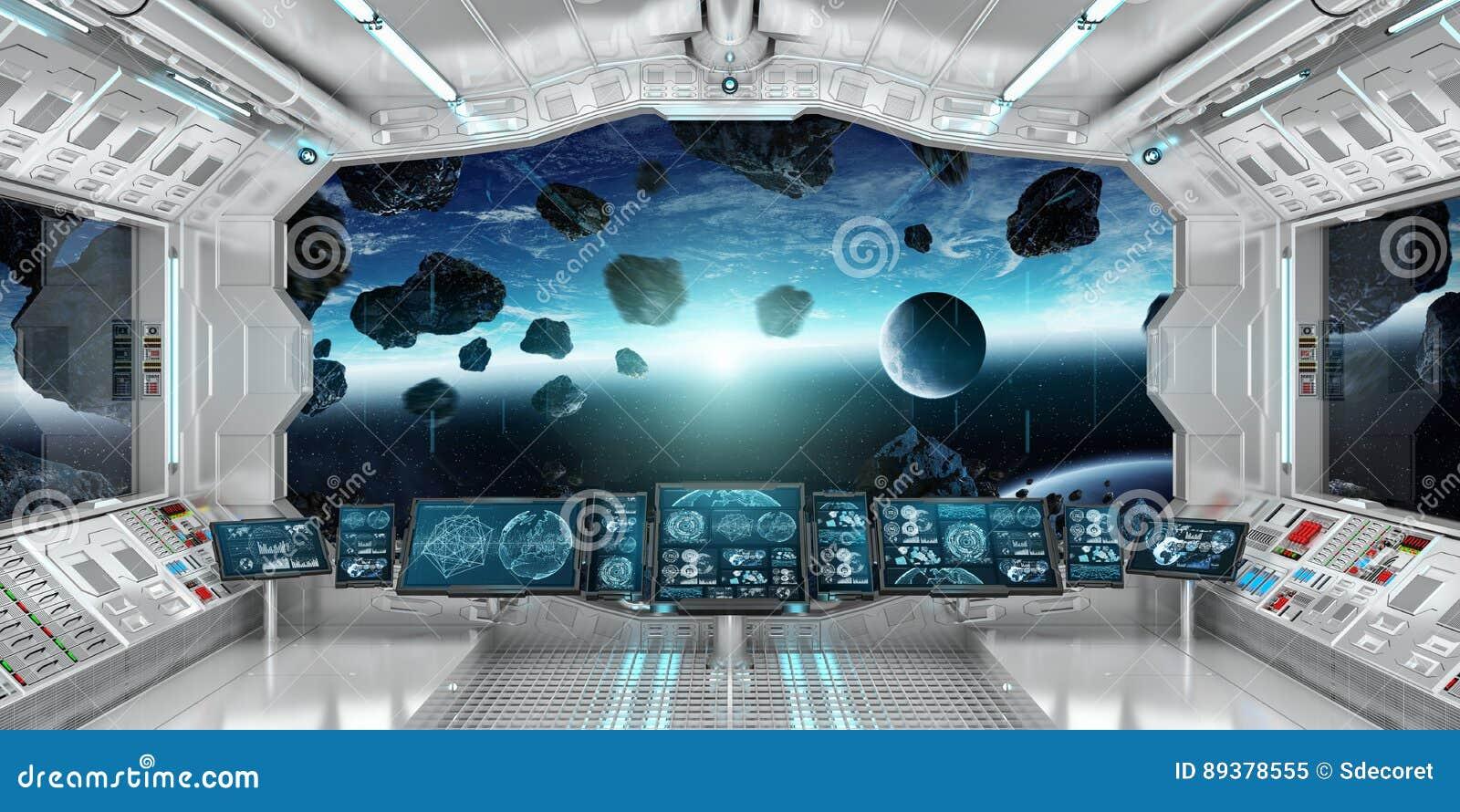 Int rieur de vaisseau spatial avec la vue sur la terre 3d for A l interieur des mechants