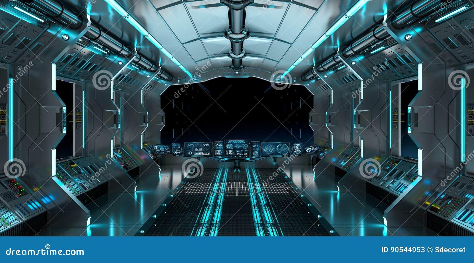 int rieur de vaisseau spatial avec la vue sur le rendu noir de la fen tre 3d illustration stock. Black Bedroom Furniture Sets. Home Design Ideas