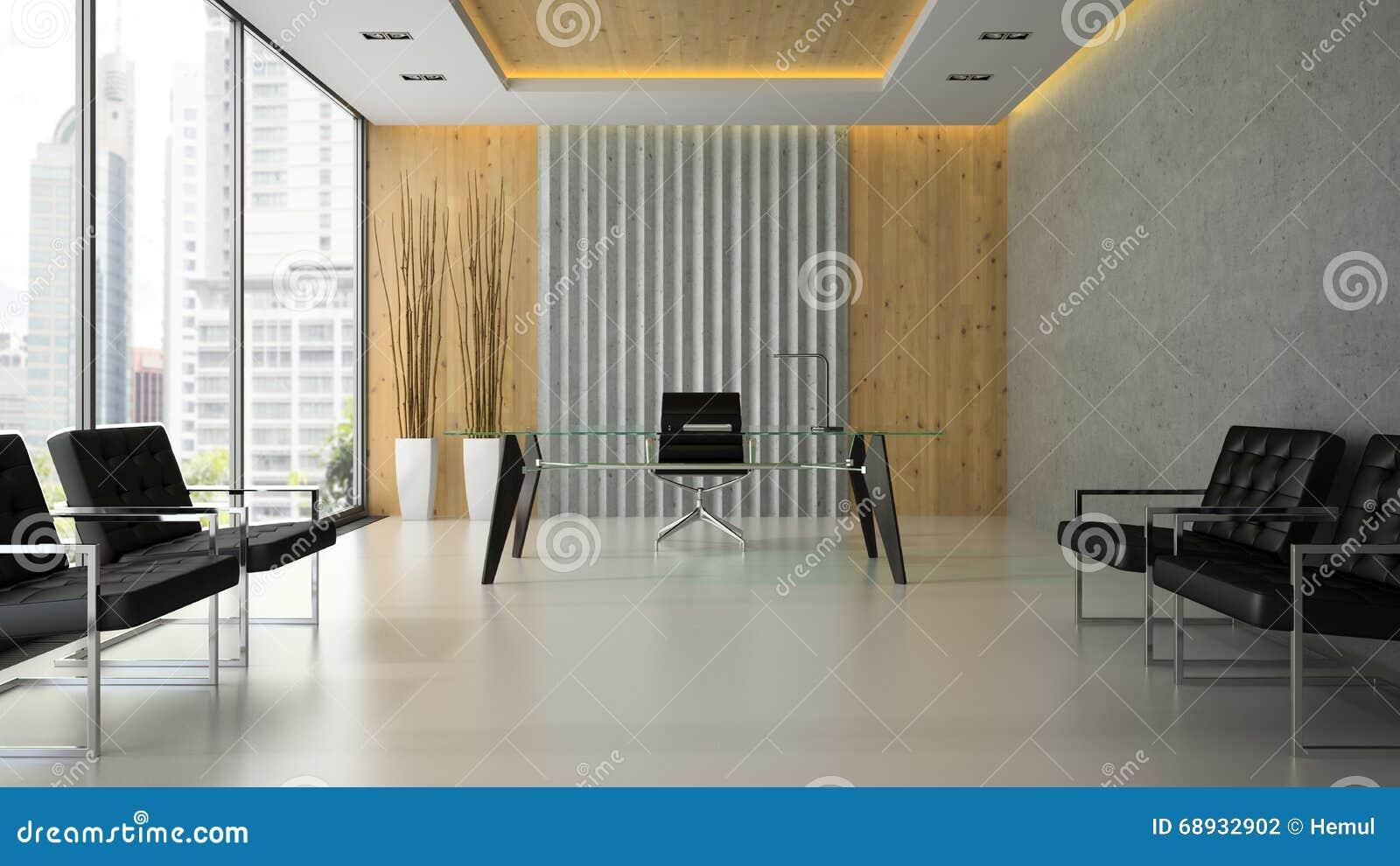 Intérieur du bureau moderne avec la table en verre d rendant