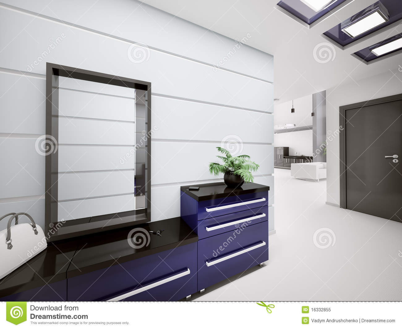 int rieur du hall d 39 entr e moderne 3d illustration stock image 16332855. Black Bedroom Furniture Sets. Home Design Ideas