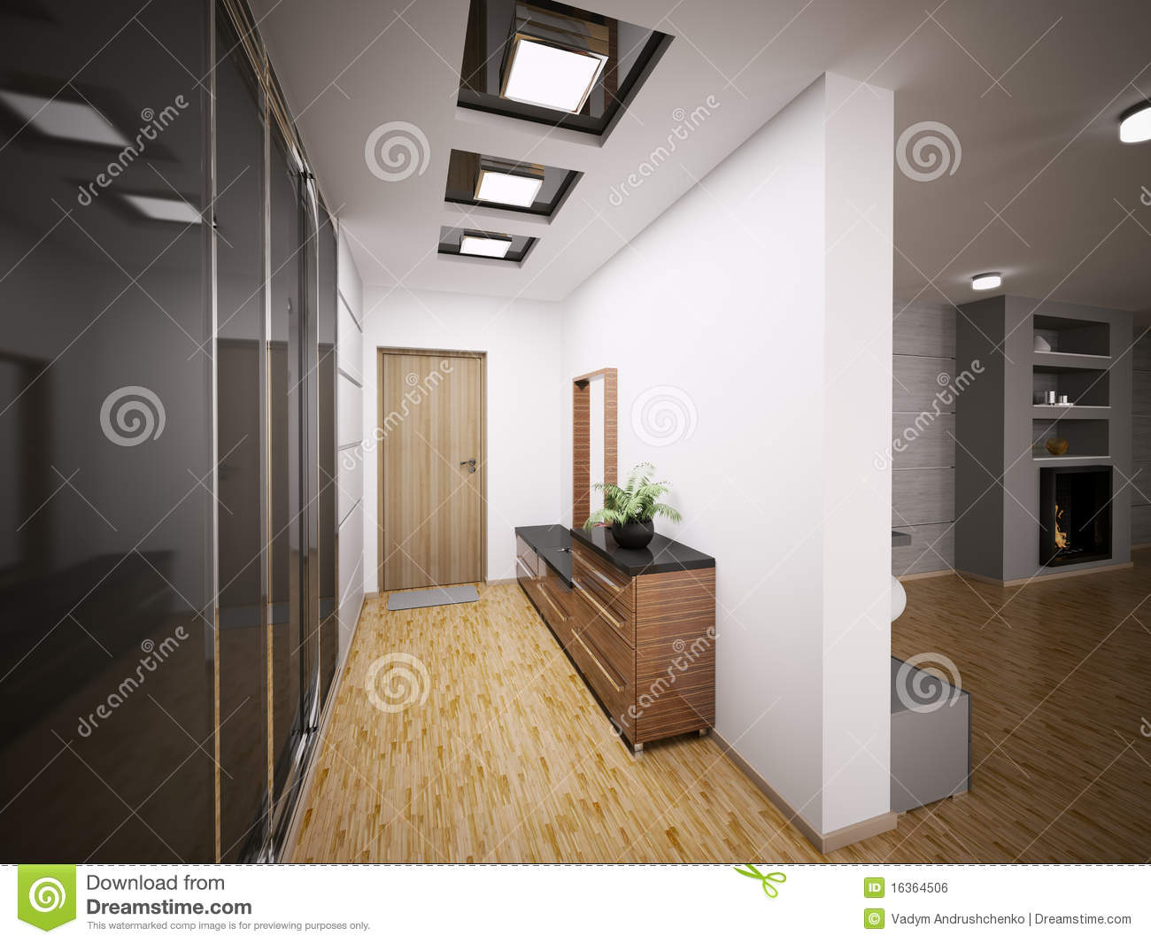 Int rieur du hall d 39 entr e moderne 3d illustration stock for Entree interieur maison moderne
