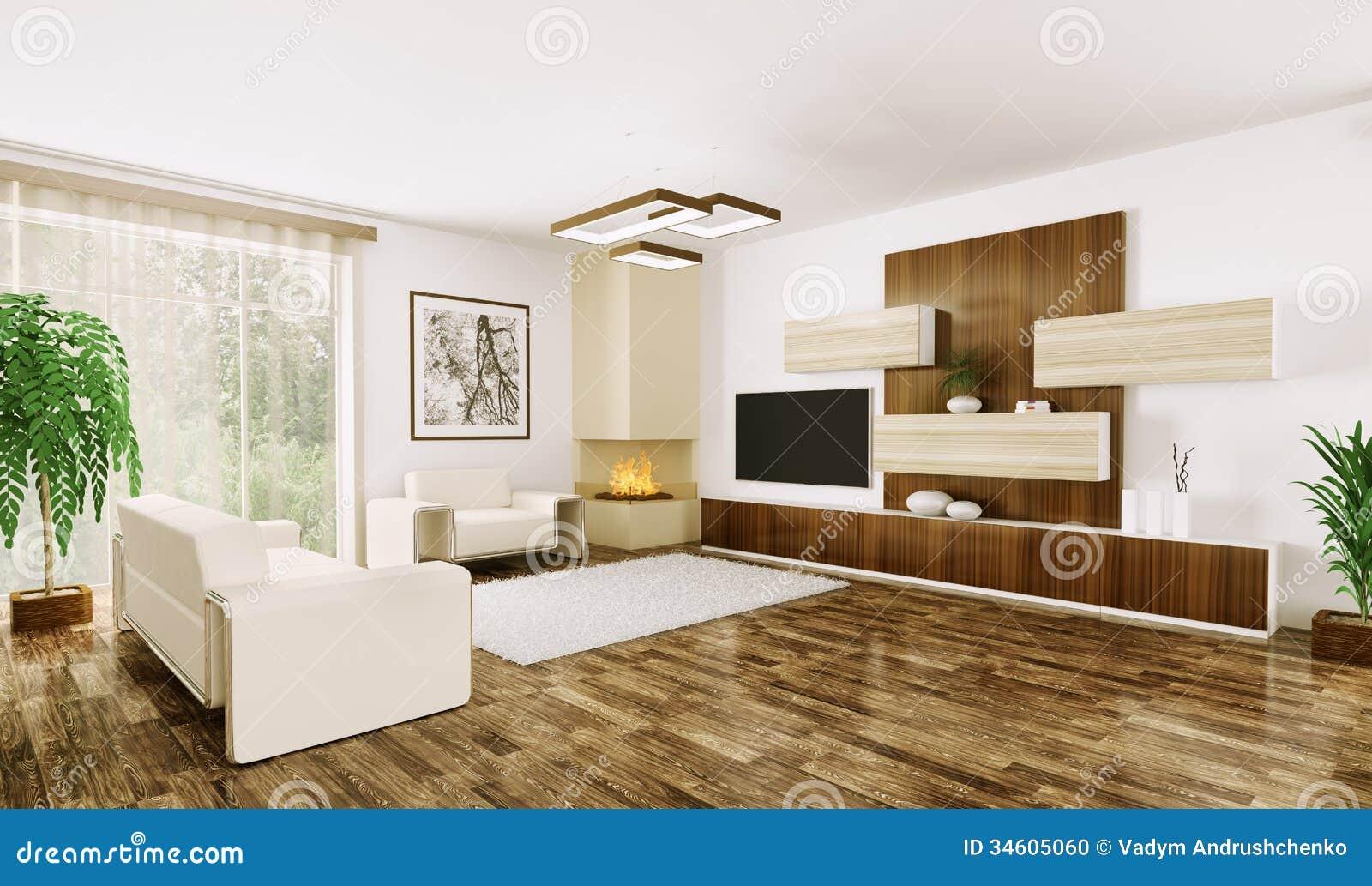 Intérieur Du Salon Moderne 3d stock Image