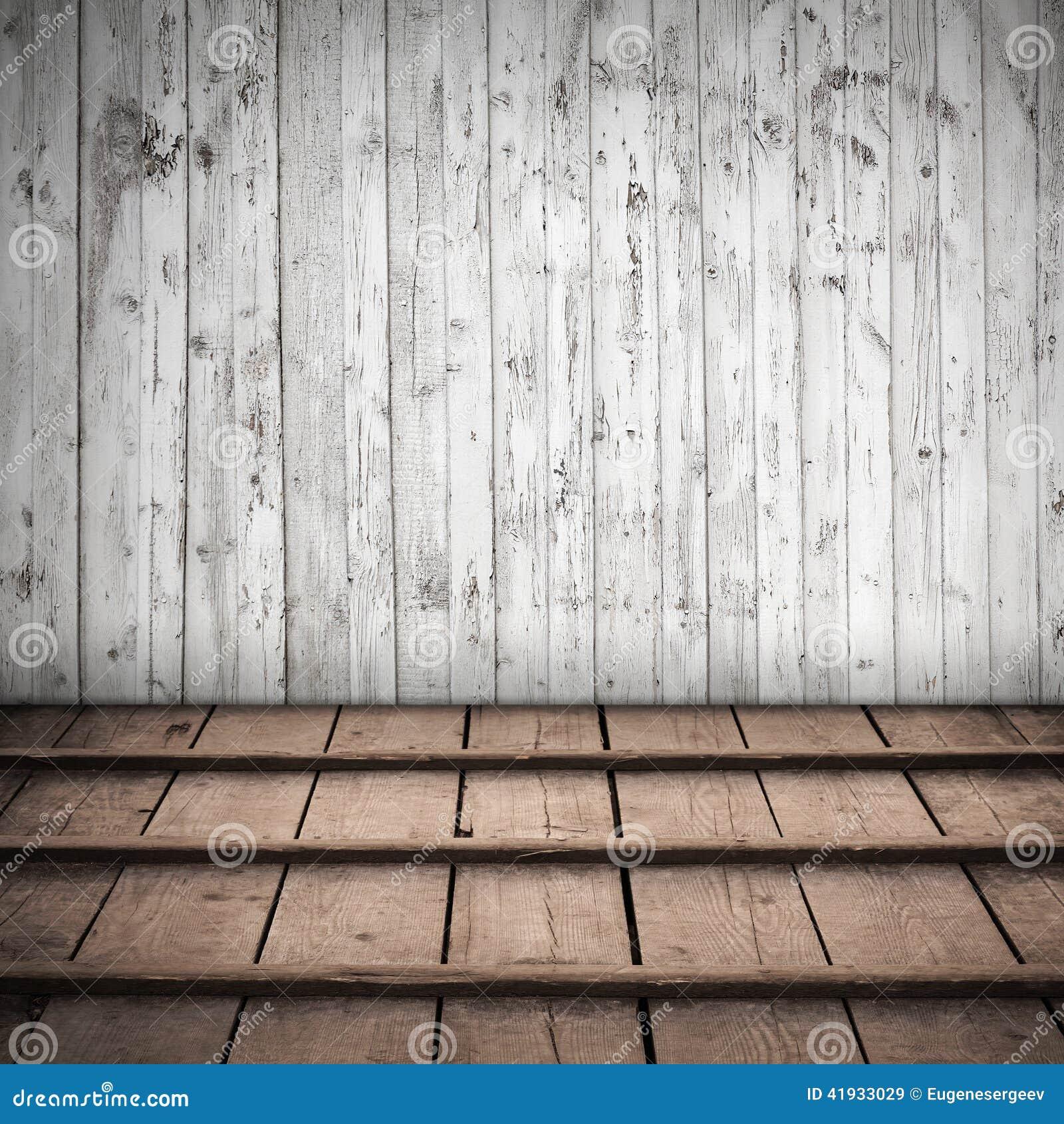 Intérieur En Bois Abstrait Avec Le Mur Blanc