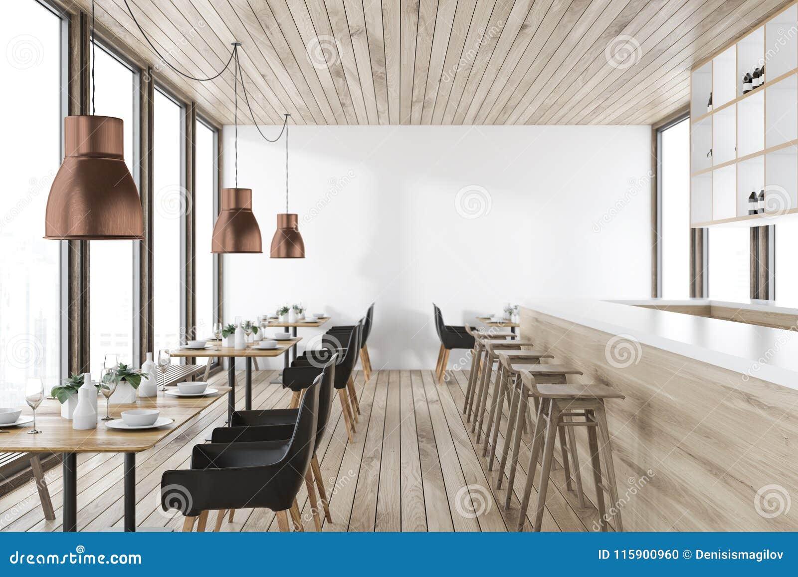Intérieur En Bois De Restaurant De Plafond Illustration Stock