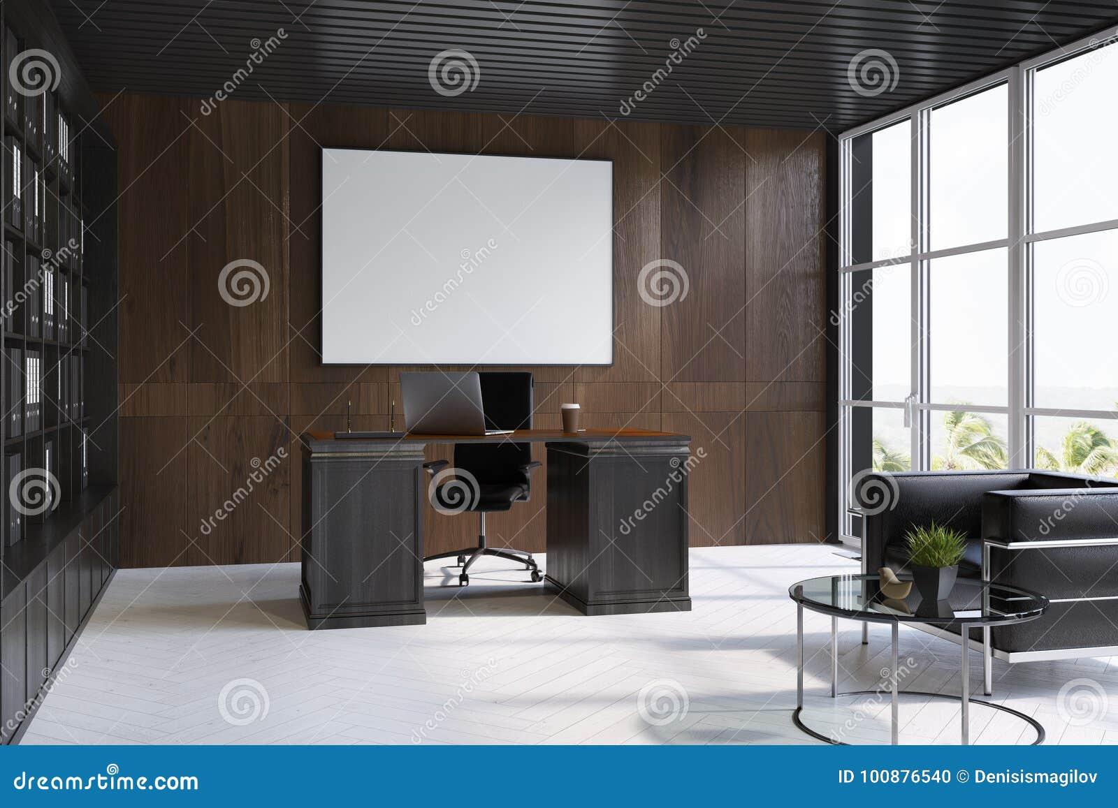 Intérieur en bois foncé de bureau de président affiche côté