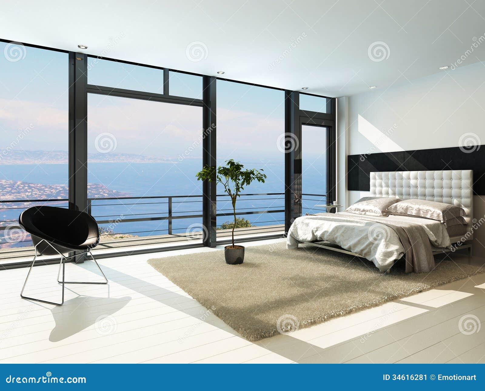 Intérieur ensoleillé moderne contemporain de chambre à coucher avec les fenêtres énormes