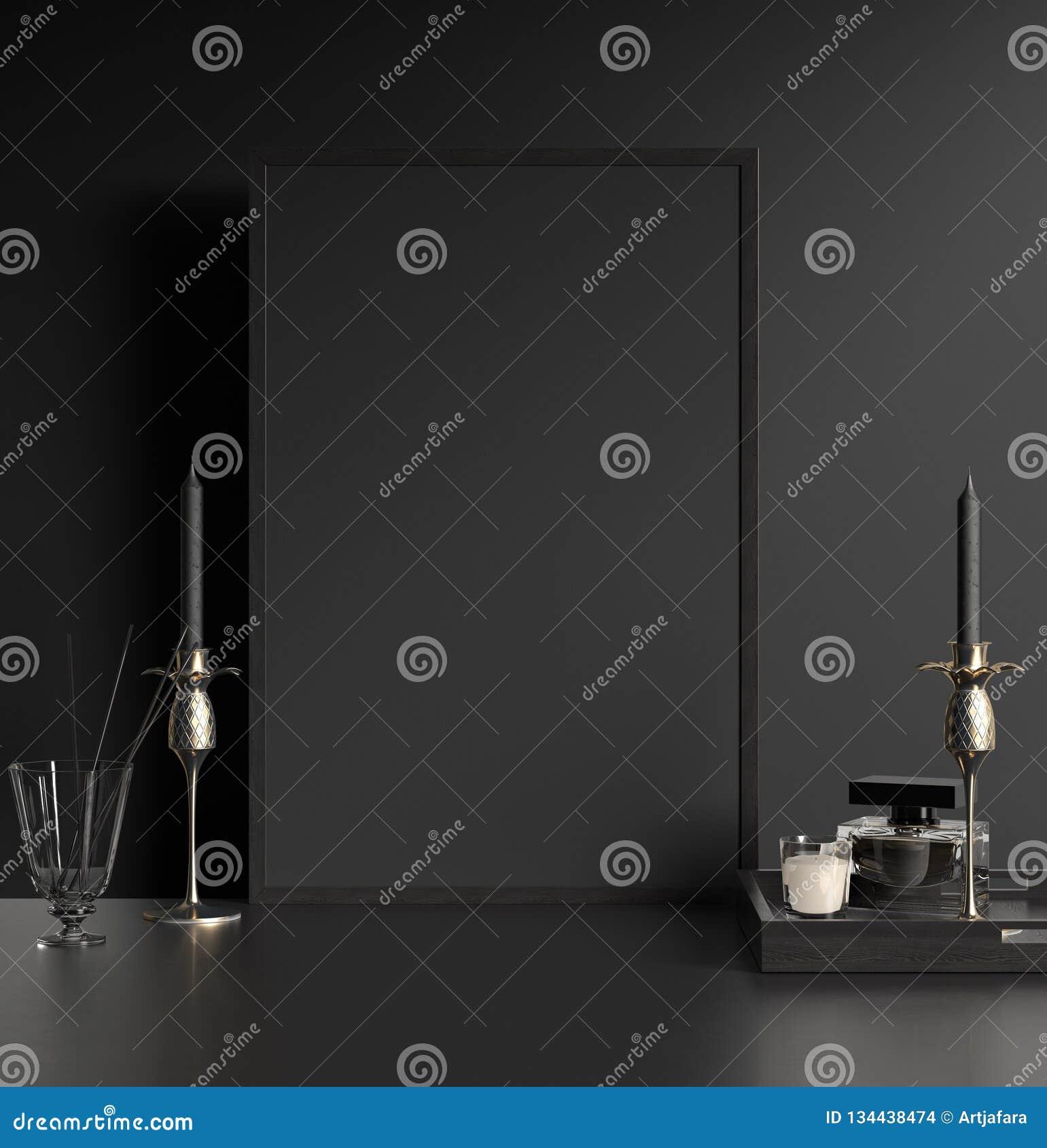 Intérieur foncé moderne avec le cadre de tableau noir