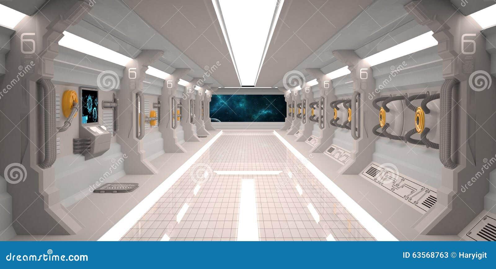 int rieur futuriste de vaisseau spatial de conception avec