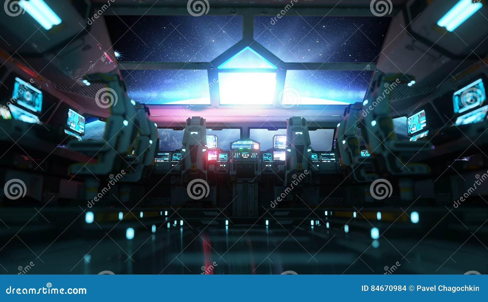Intérieur futuriste de vaisseau spatial Vue de Cabine Concept galactique de voyage rendu 3d