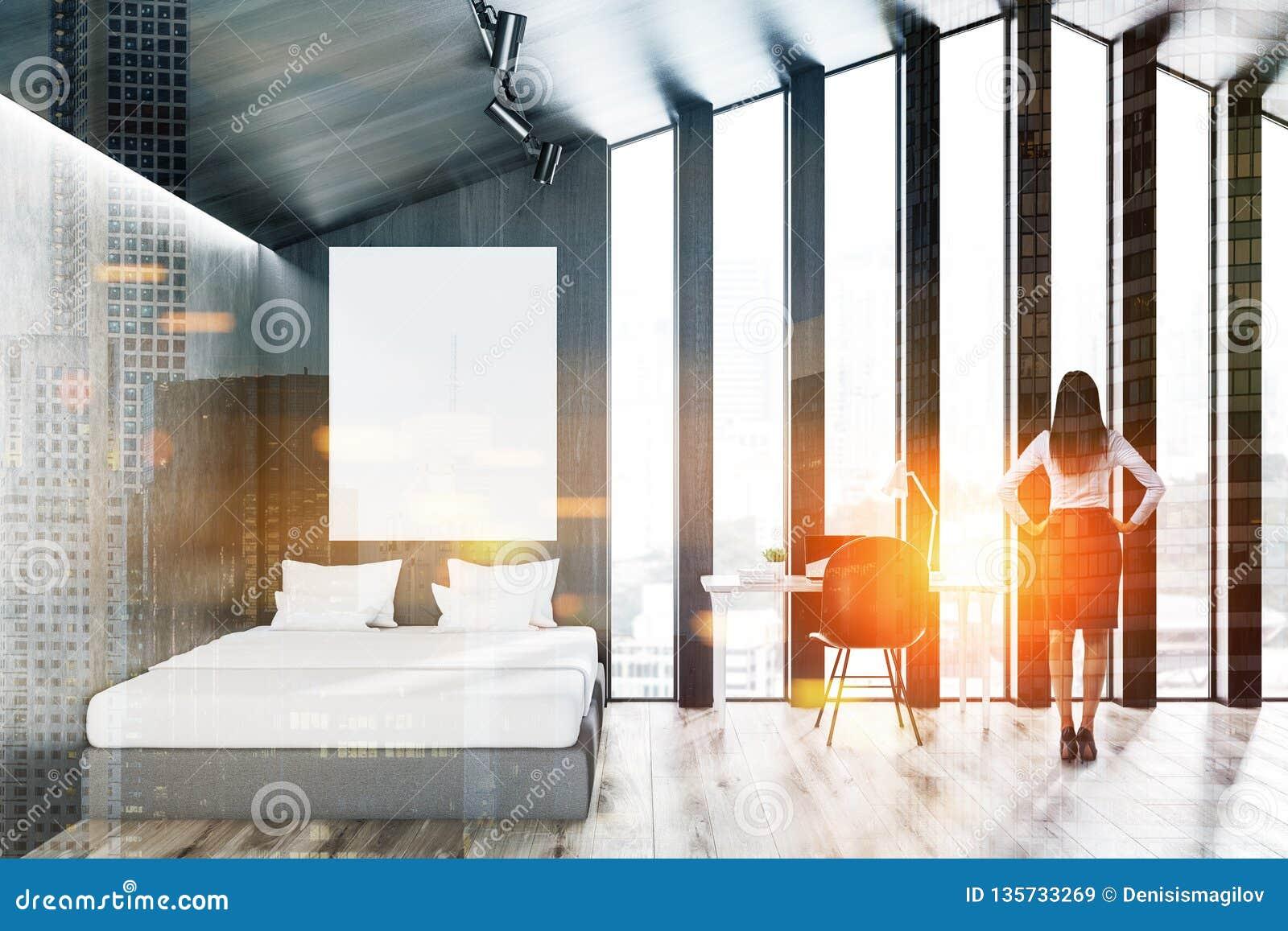 Intérieur gris de chambre à coucher de grenier bureau d