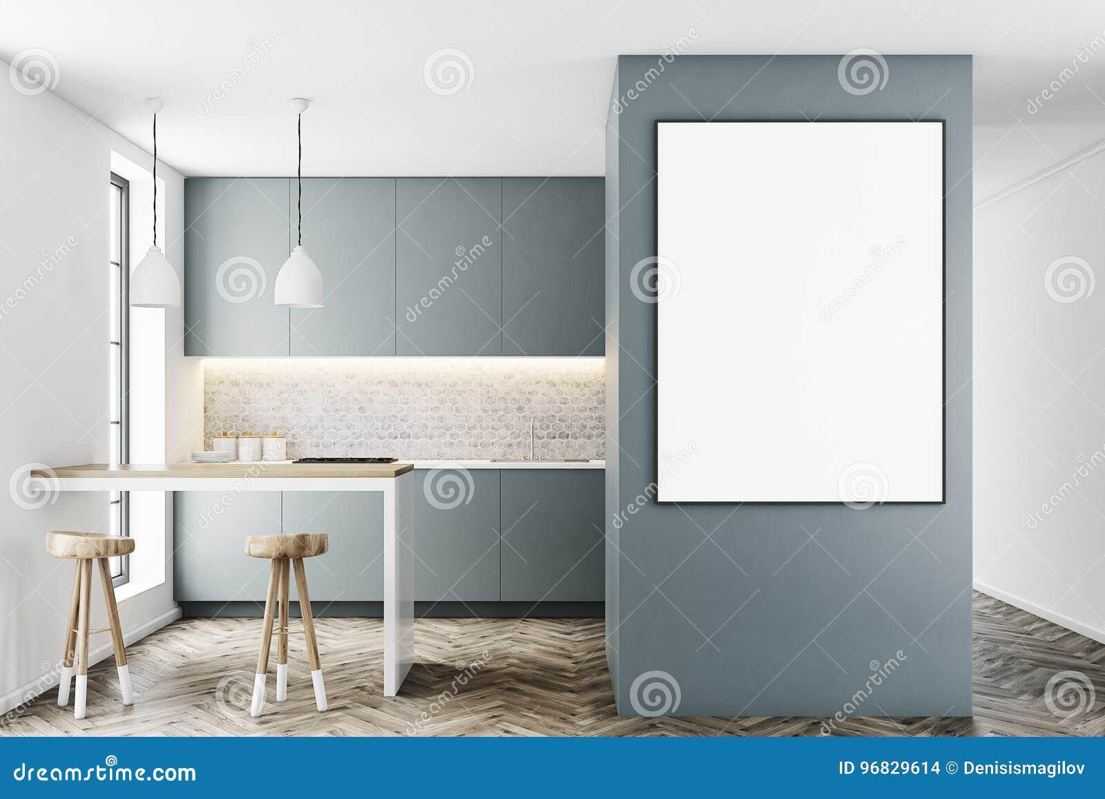 Interieur Gris De Cuisine Avec Une Barre Affiche Illustration Stock
