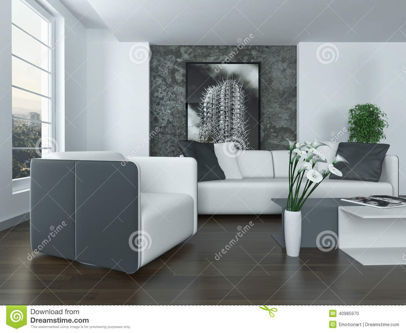 int rieur gris et blanc moderne de salon illustration. Black Bedroom Furniture Sets. Home Design Ideas