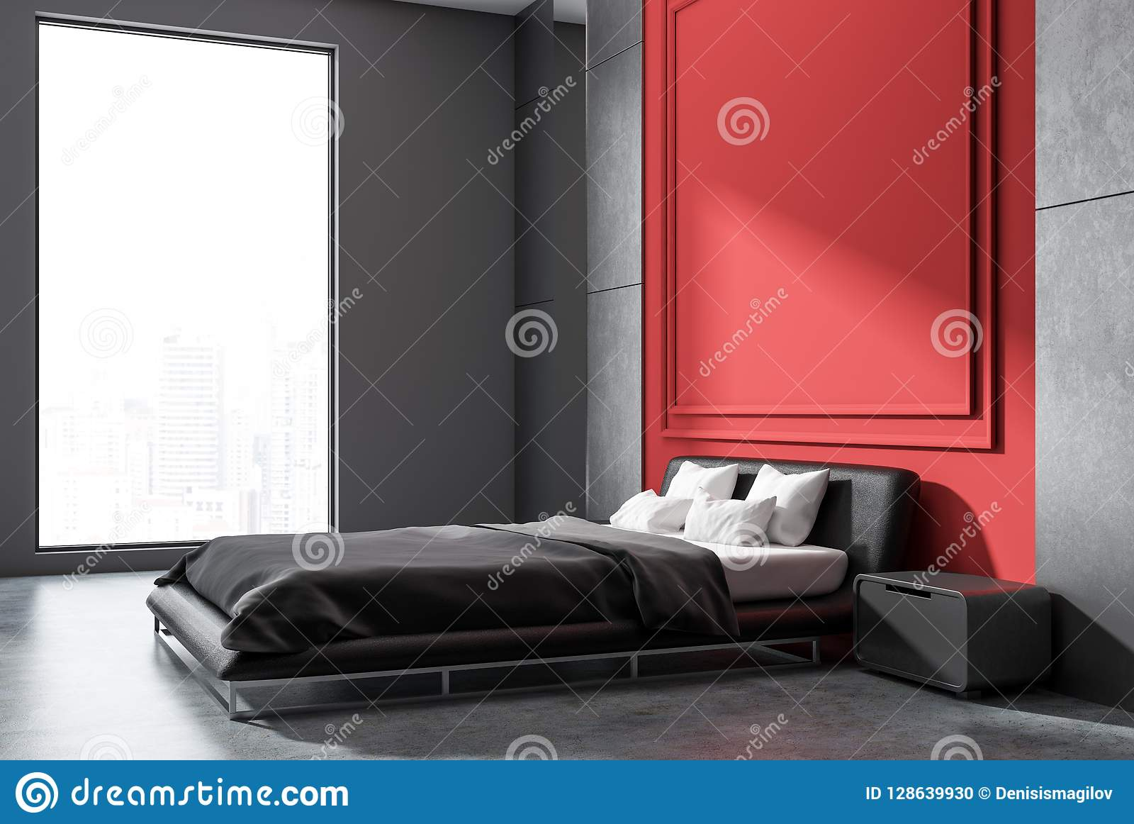Charmant Intérieur De Chambre à Coucher De Minimalistic Avec Les Murs Gris Et Rouges,  Le Plancher En Béton, Le Lit Principal Avec Des Tables De Chevet Et La  Fenêtre ...