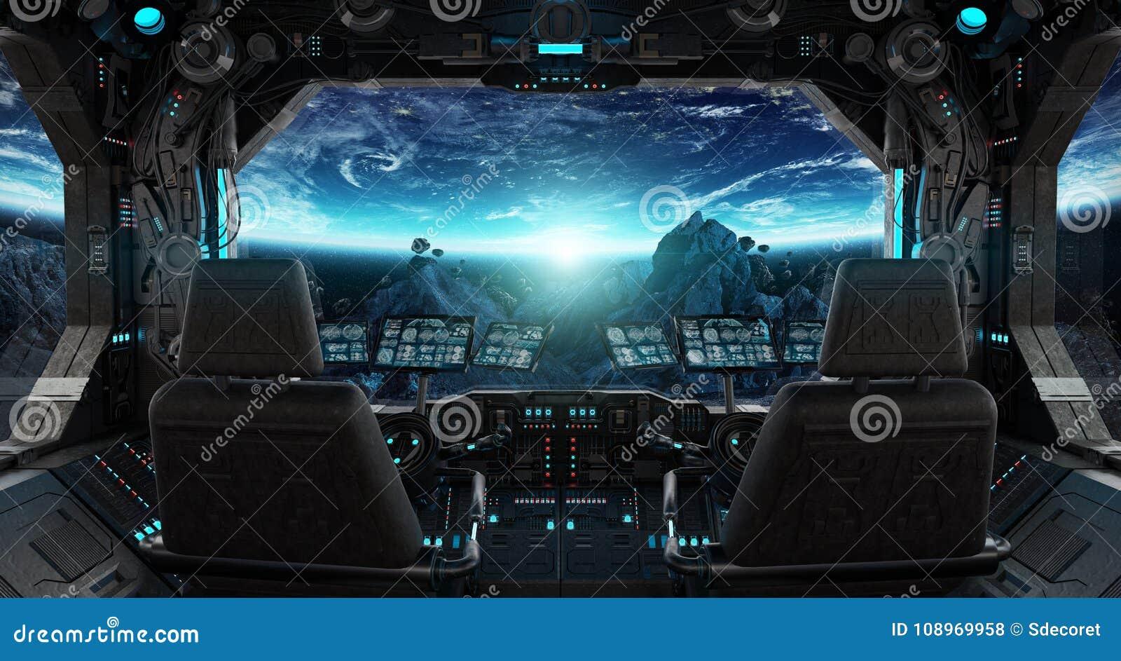 int rieur grunge de vaisseau spatial avec la vue sur terre de plan te illustration stock. Black Bedroom Furniture Sets. Home Design Ideas