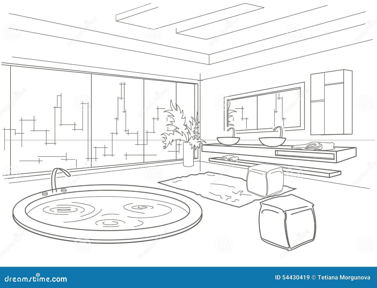 Joints Salle De Bain Orange ~ int rieur lin aire architectural de salle de bains de croquis