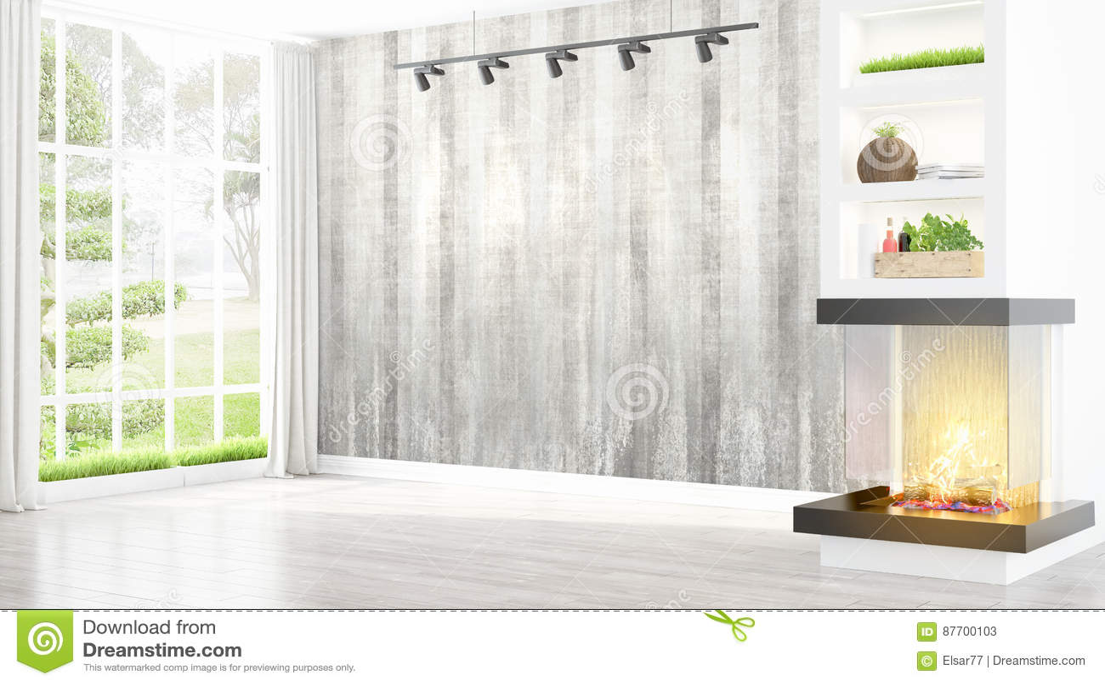 Intérieur lumineux moderne rendu 3d