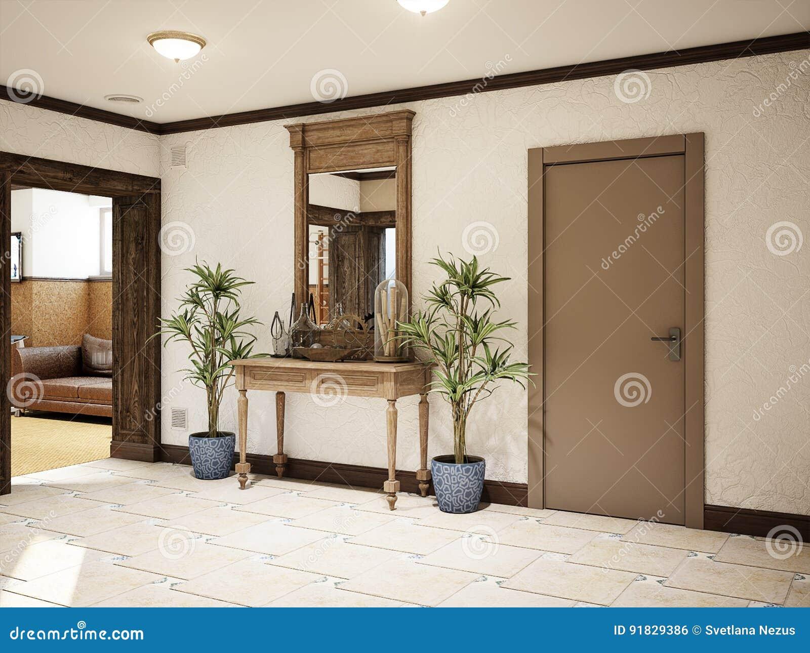 Intérieur méditerranéen de style de sous-sol spacieux de Hall