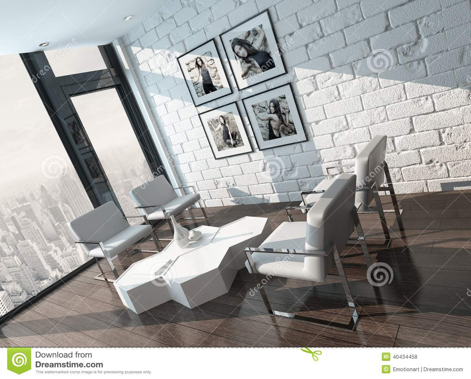 Int Rieur Minimaliste De Salon Avec Le Mur De Briques Blanc Illustration Stock Image 40434458
