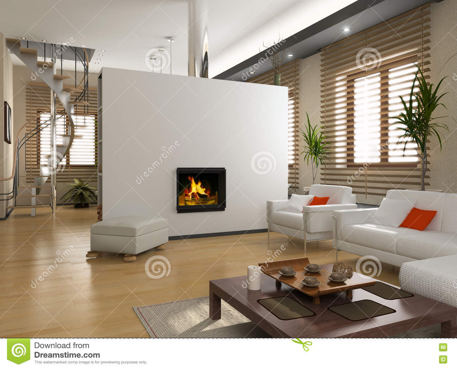 Int rieur moderne images libres de droits image 3050589 for Cheminee interieur moderne
