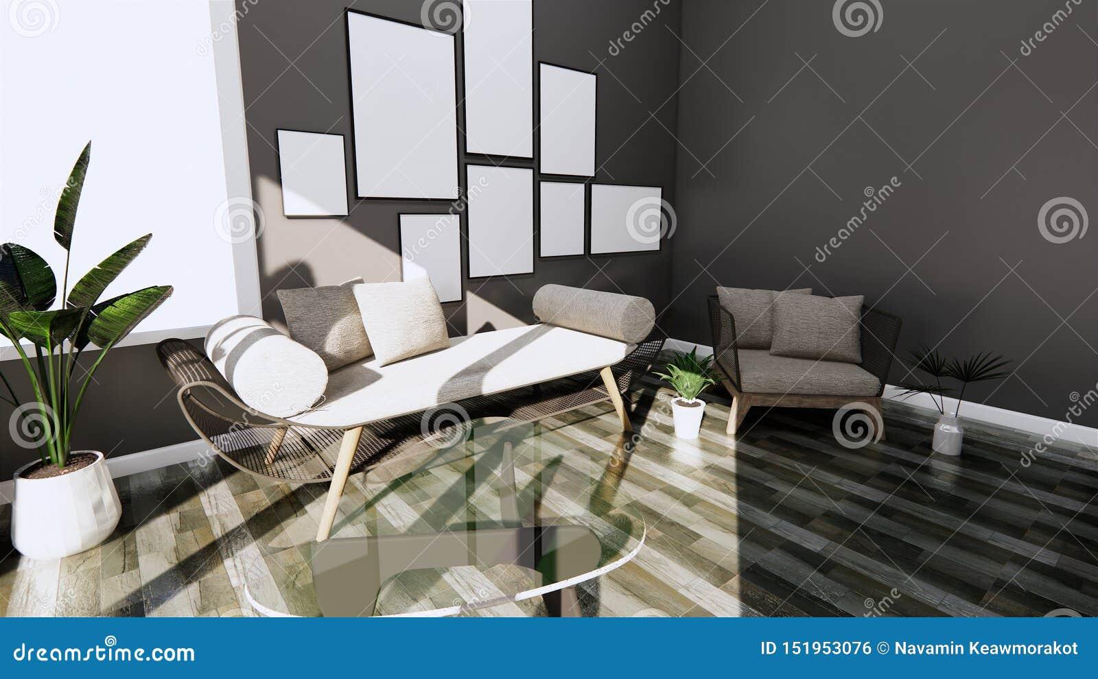 Plante Pour Cuisine Sombre intérieur moderne avec la chaise de sofa et de bras sur le