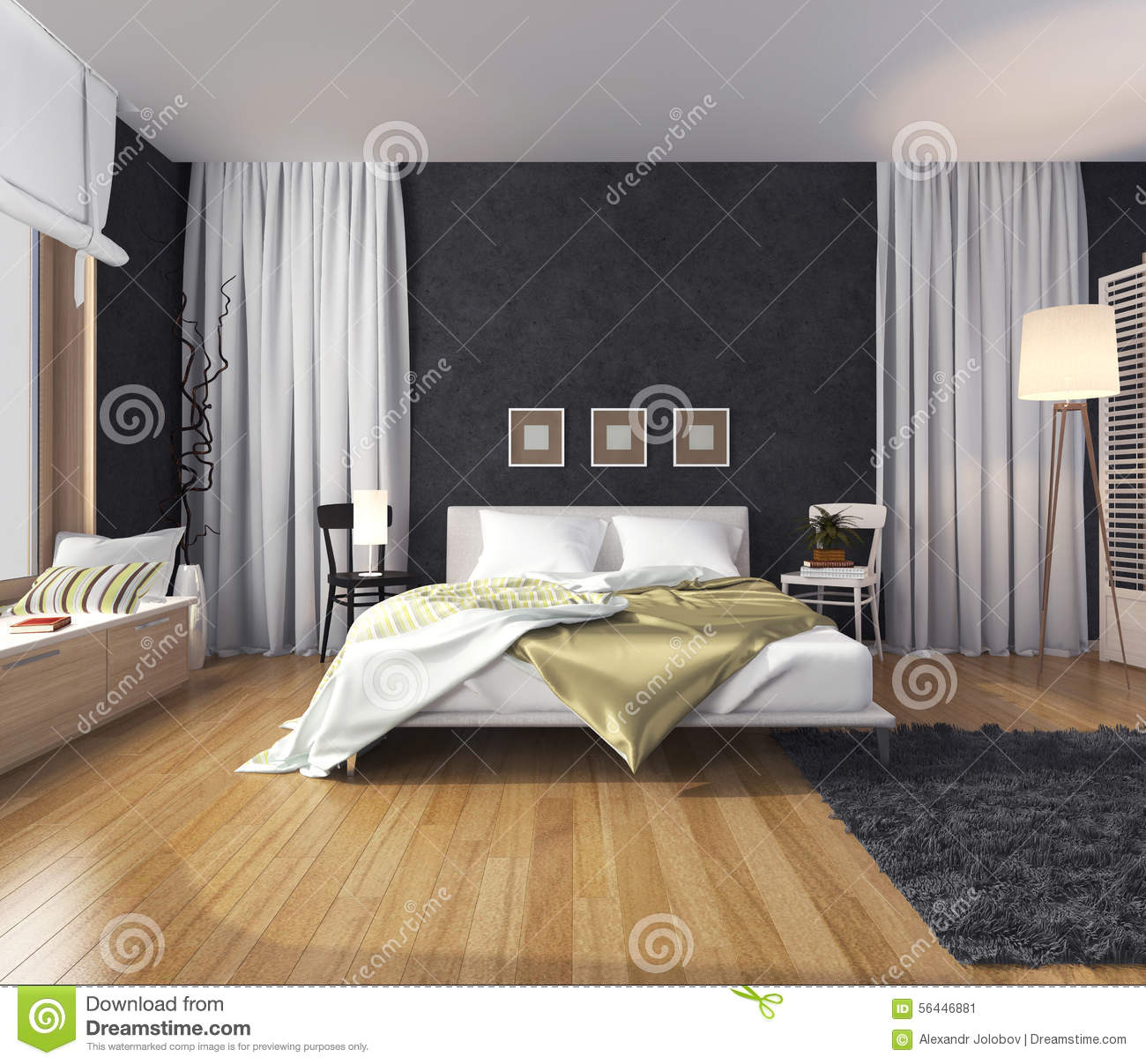 int rieur moderne d 39 une chambre coucher avec un mur de couleur fonc e lit et illustration. Black Bedroom Furniture Sets. Home Design Ideas