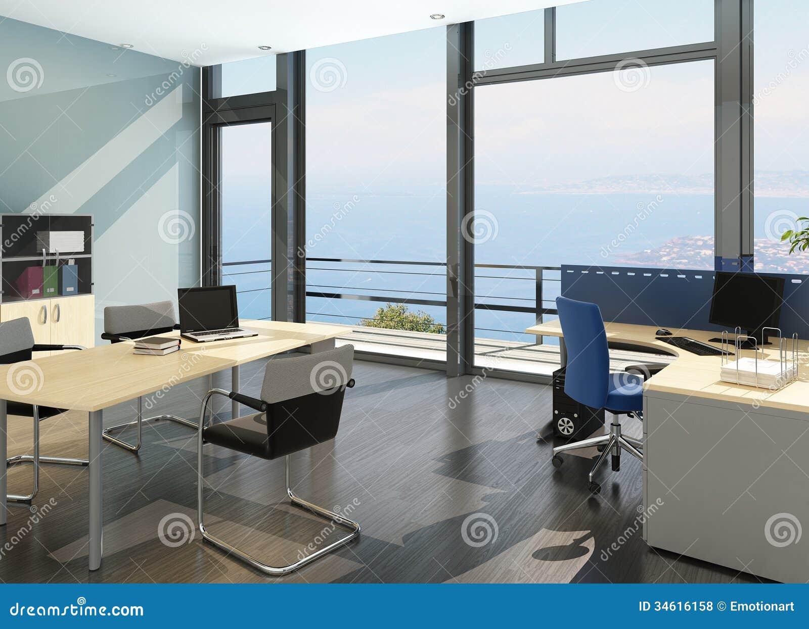 Intérieur moderne de bureau avec la vue de paysage marin de