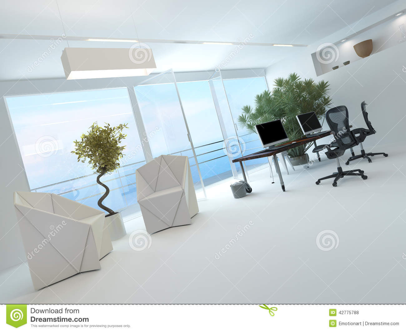 Int rieur moderne de bureau de bord de mer illustration for Interieur noir et blanc