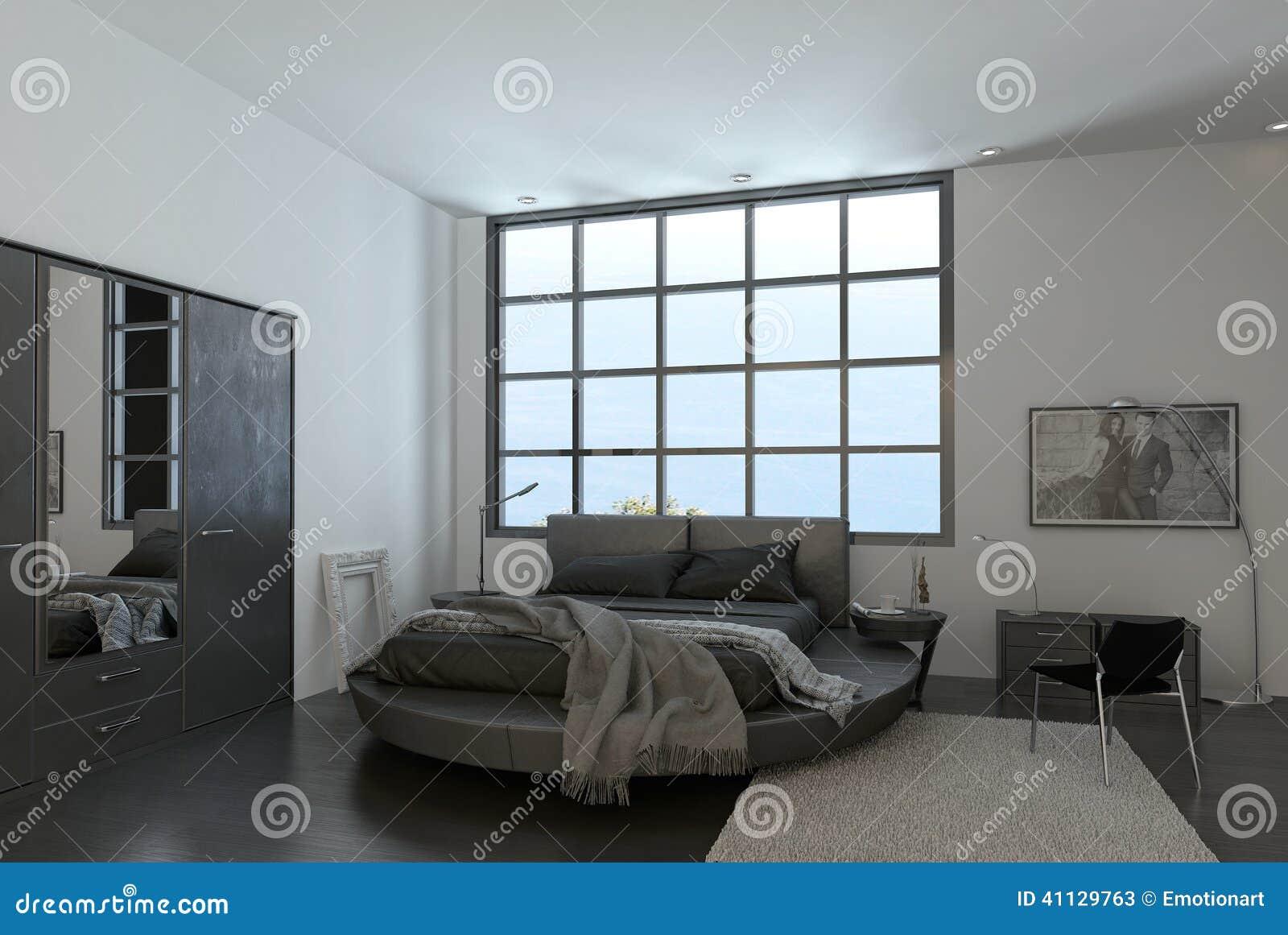 Int rieur moderne de chambre coucher avec la fen tre - Download er finestra ...
